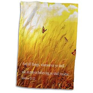 3dRose Bible Scripture from Mathew on a Meadow with Birds and Butterflies Towel
