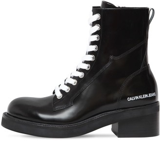 Calvin Klein Jeans 50MM EBBA BRUSHED LEATHER ANKLE BOOTS