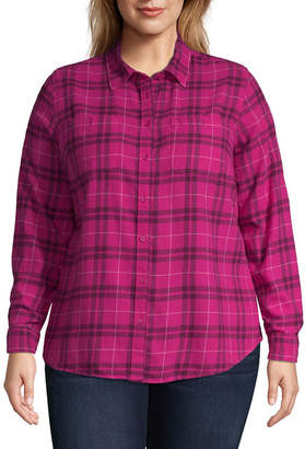 ST. JOHN'S BAY Flannel Button Up Shirt - Plus