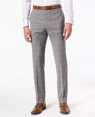 Sean John Men's Slim-Fit Stretch Black/White Windowpane Suit Pants