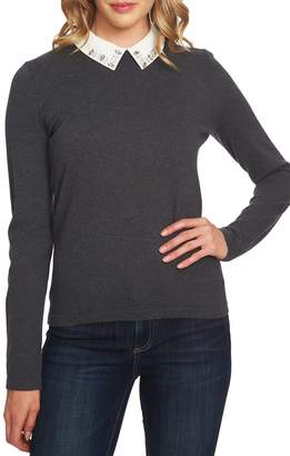 CeCe Embellished Collar Cotton Blend Sweater