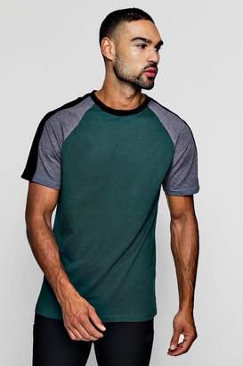 boohoo Contrast Raglan T-Shirt With Velour Panel