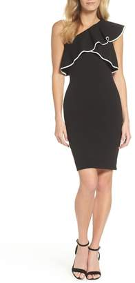 Adrianna Papell Crepe One-Shoulder Sheath Dress
