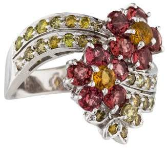 Ring Garnet, Citrine & Yellow Diamond Flower Cocktail