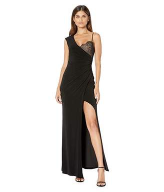 BCBGMAXAZRIA One Shoulder Lace Detail Gown with Slit