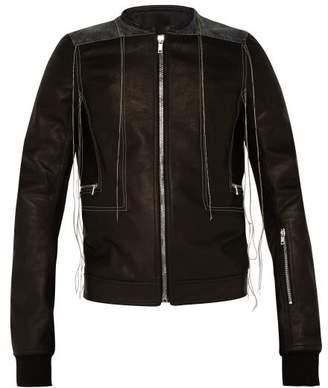 Rick Owens Rotterness Denim Patch Strand Leather Jacket - Mens - Multi