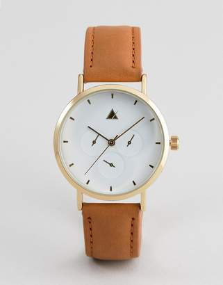 Asos DESIGN sub dial detail leather watch