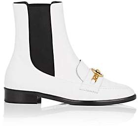 Versace Women's Logo-Detail Leather Chelsea Boots - Wht.&blk.