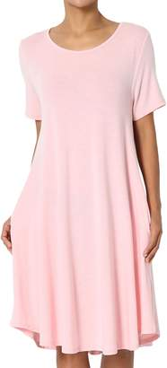 TheMogan Women's Short Sleeve Trapeze Knit Pocket T-Shirt Dress Grey 2XL