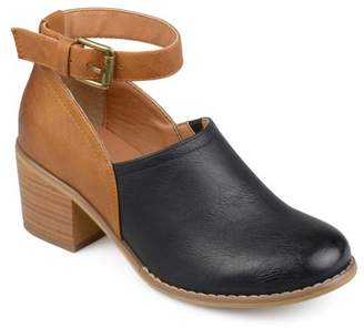 Co Brinley Womens Faux Leather Wood Stacked Heel Ankle Strap Clogs