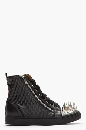Jeffrey Campbell Black quilted Adam spiked cap sneakers