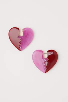H&M Heart-shaped Earrings - Pink