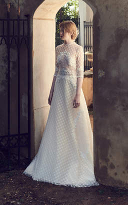 Costarellos Bridal Geometric Embroidered Tulle Gown