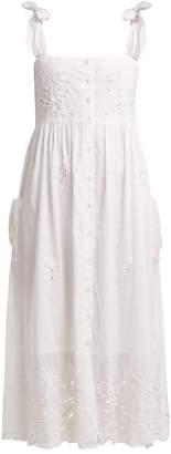 Juliet Dunn Broderie Anglaise Cotton Midi Dress - Womens - White