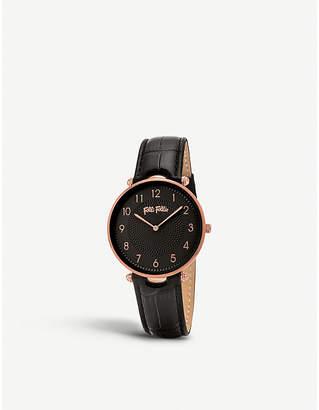 Folli Follie WF17R014SSKBK Lady Club rose gold-plated and leather watch