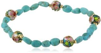 Gold-Plated Sterling Silver Stabilized Chinese Turquoise Nuggets and Blue Cloisonne Bead Stretch Bracelet