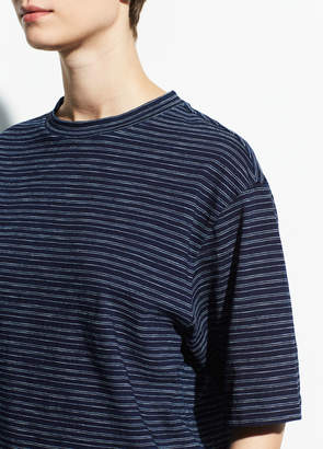 Indigo Stripe Wide Sleeve Crop Tee