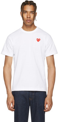 Comme des Garçons Play White & Red Heart Patch T-Shirt $100 thestylecure.com