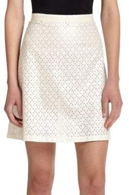 Suno Eyelet Back-Pleat Skirt