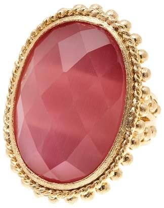 Rivka Friedman 18K Gold Clad Bold Satin Beaded Raspberry Cat's Eye Crystal Ring