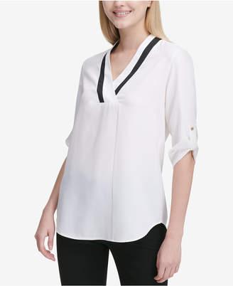 Calvin Klein Contrast-Neck Roll-Tab-Sleeve Top
