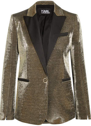 Karl Lagerfeld Cotton-blend Lamé Blazer - Gold