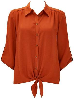Wallis Rust Linen Look Shirt
