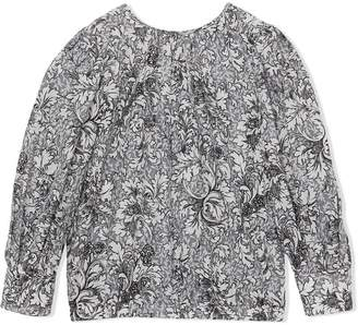 Burberry TEEN Floral Print Cotton Silk Blouse