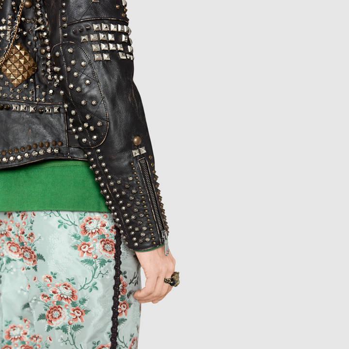 Studded leather biker jacket 6