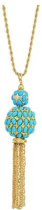 Kenneth Jay Lane 33 Gold Chain with Double Turquoise Cabochon Ball/Gold Chain Tassel Pendant Necklace Necklace