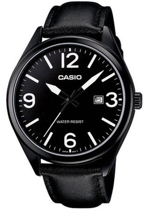 Casio Men's Casual Analog Watch, Black Leather Strap