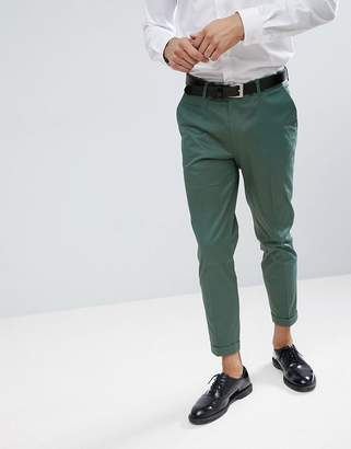 Green Cotton Asos Design ASOS WEDDING Skinny Crop Smart Pants In Sage Sateen