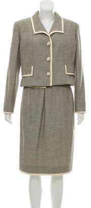 Valentino Wool Patterned Skirt Suit