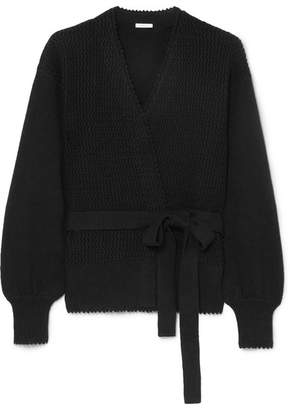 See by Chloe Knitted Cotton And Linen-blend Wrap Cardigan - Black