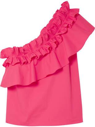 Saloni Esme One-shoulder Ruffled Stretch-cotton Poplin Top