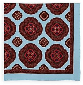 Bigi Men's Large-Medallion-Print Silk Twill Pocket Square - Lt. Blue