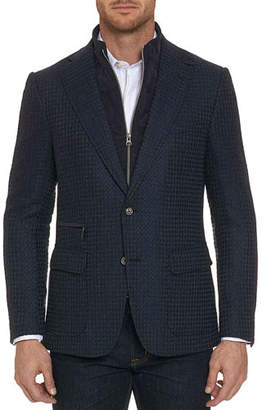 Robert Graham Men's Downhill Pique Sport Coat with Vest Inset