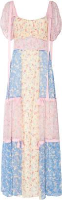 LoveShackFancy Jessie Bow-Tie Detailed Floral-Print Silk Dress