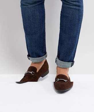 Asos Design DESIGN loafers in brown faux suede with snaffle detail