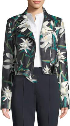 Diane von Furstenberg Lily Print Zip-Front Cropped Leather Moto Jacket