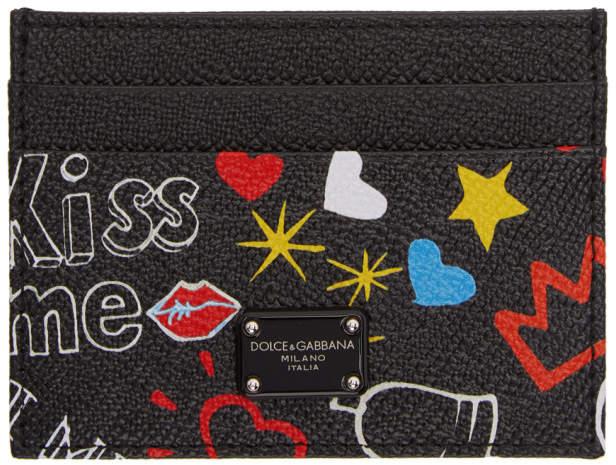 Black Graffiti Card Holder Dolce & Gabbana Hm4rf