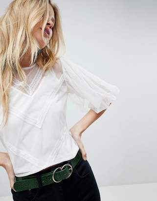 Asos Design Mesh Top with Puff Sleeve and Lace Trim