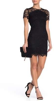Bebe Chemical Lace Short Sleeve Dress