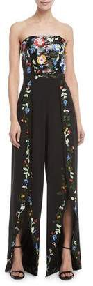Alice + Olivia Jeri Strapless Wide-Leg Embellished Sequin Tulip-Hem Jumpsuit