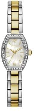 Mother of Pearl CARAVELLE Designed by Bulova Caravelle Women's Crystal Barrel White Two-Tone Gold Stainless Steel Bracelet Dress Watch