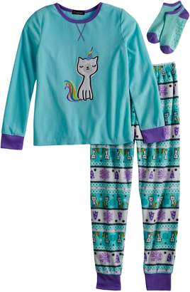 Cuddl Duds Girls 4-12 Unicorn Cat Top & Fleece Fairisle Bottoms Pajama Set with Socks