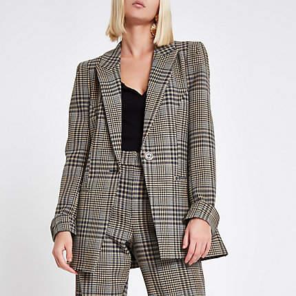 Womens Brown check print velvet stripe fitted blazer