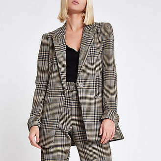 River Island Womens Brown check print velvet stripe fitted blazer