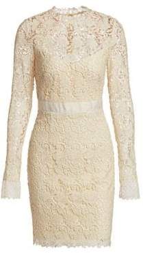 ML Monique Lhuillier Long Sleeve Lace Cocktail Dress