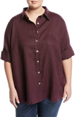 Allen Allen Plus Linen Button-Front Big Tunic, Plus Size